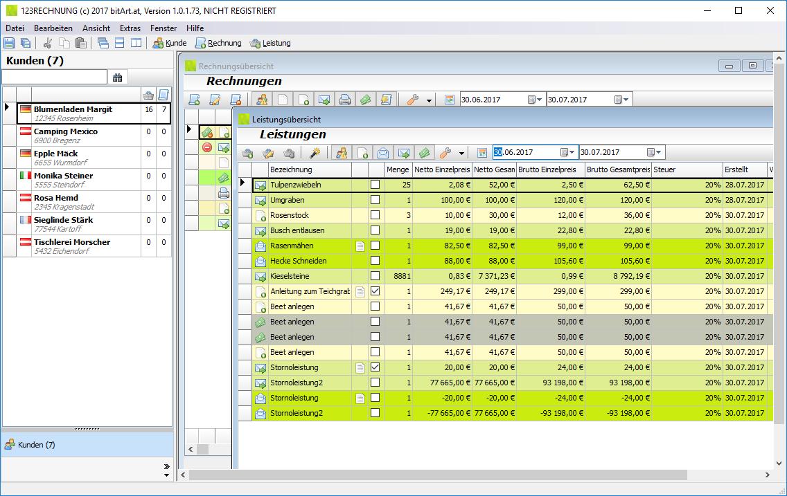 Hauptfenster Rechnungs- und Leistungsübersicht